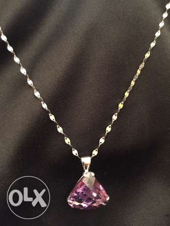 18K White Gold necklace with real Amethyst stone