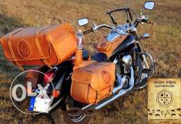 American Handmade Leather saddle bags Tank cover for Motorcycles