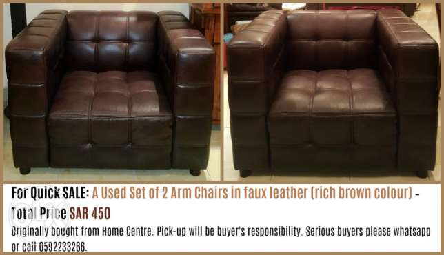 For Quick SALE: A Used Set of 2 Arm Chairs in faux leather SAR 450