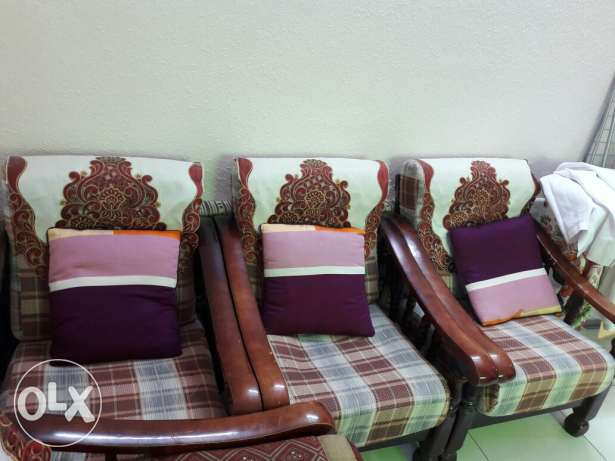 Wooden sofa set ( 7 seater with central table)