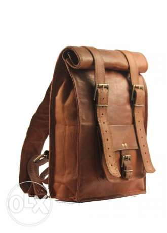 Vintage style Rolltop 100% Genuin Leather rucksack backpack