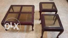 1.Glass Center table with 2 side tables - SAR 100 2.Ab machine - SAR 50 3.Glass door book shelf - SAR 150 Low priced furniture