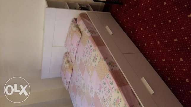 Semi new ikea bed room +sofa bed +table with wheel all from ikea