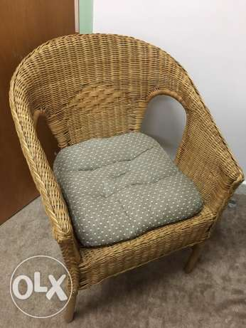 IKEA bamboo chair with cushion