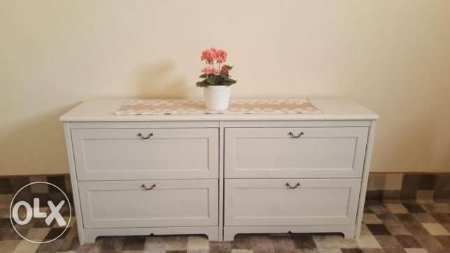 kea single bed along with ikea mattress and chest drawer
