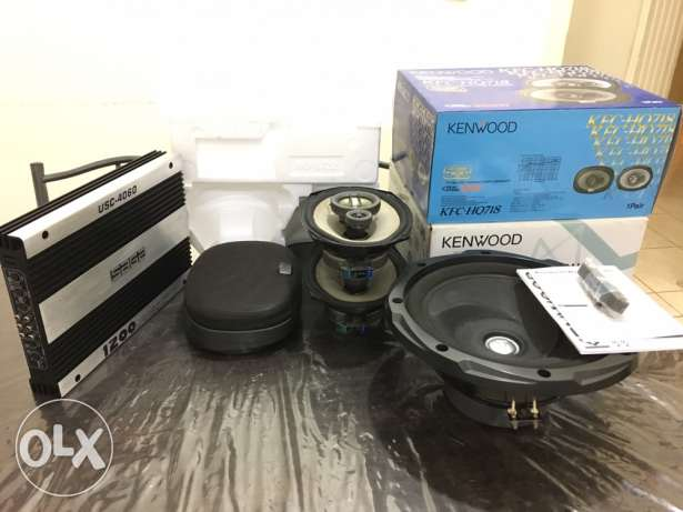 Kenwood speakers, a woofer and an amplifier