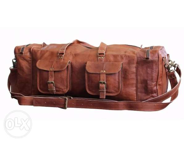 Vintage style large Leather duffle bag