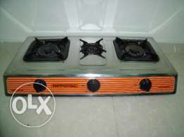 3 burner gas cooker and gas bottle