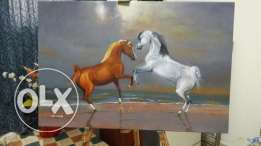 Arabian horses oil painting