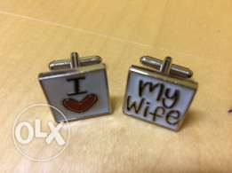 "Silver ""I love my wife"" Wedding Cufflinks - Men"