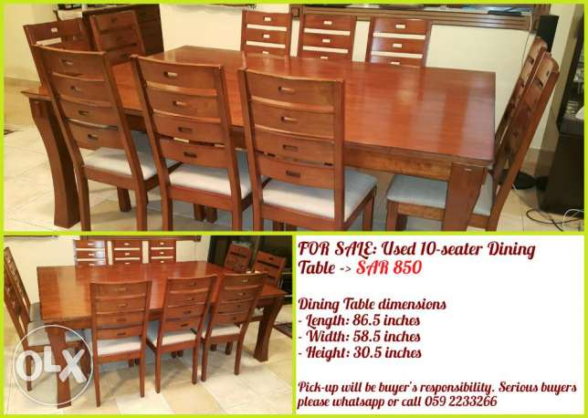 Get a used 10-seater dining table for SAR 850 only