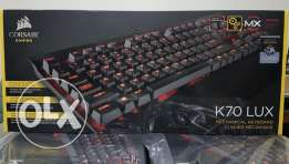 Corsair Gaming K70 LUX Mechanical Keyboard, Backlit Red LED, Cherry MX