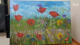 Wild flower oil painting