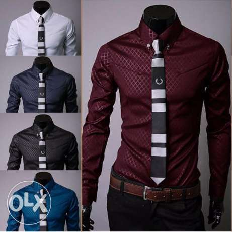 Fashion-Men-039-s-Luxury-Casual-Shirts-Slim-Fit-Dress-Shirts-Long-Sle