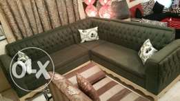 very compact & rich looking 7seater sofa set in dark olive green theme