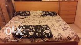 Big Bed Set with Mattress & Side Table, 6 Door Cupboard, Dressing Tabl