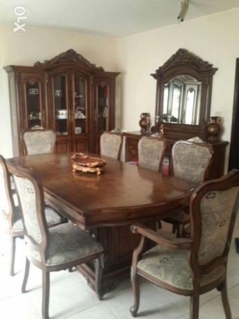 8 Seater Dining Set with buffet along with mirror and hutch