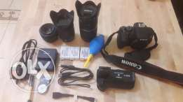 Canon 700D With 3 lens With Battery Grip