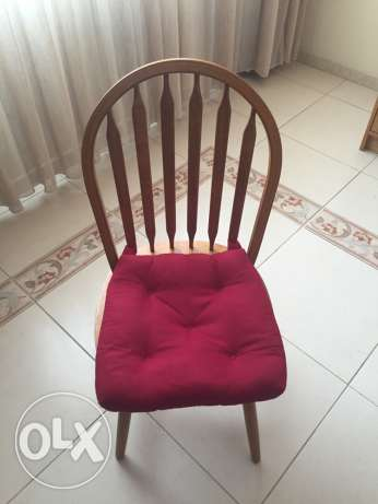 wooden chair with cushion (6 pcs available)