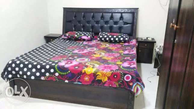 Double bed with mattress  2 side tables