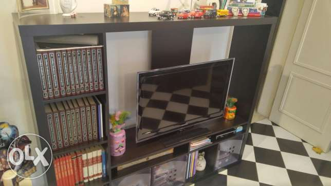 TV storage unit, black brown جدة -  2