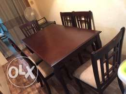 Wooden 6 Seater Dining Table With Free Trolley