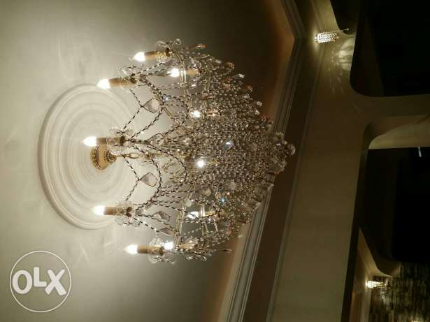 3 pieces of chandelier made of brass and asfour crystal 2500 SR each