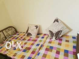 Single Bed (Iron) foldable with mattress and two cusion