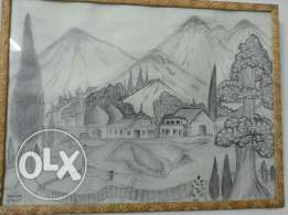 pencil sketch scenery