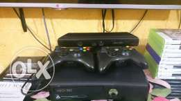 X box 360: 360 gb, with kinect sensor, two controls with 10amazing cds