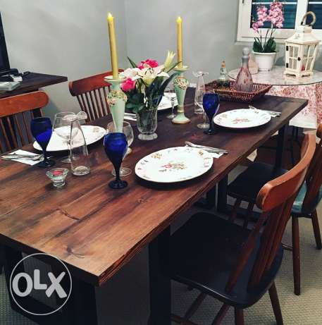 dining table and rug