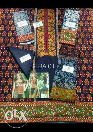 Lawn embroidery suits with chiffon dupatta