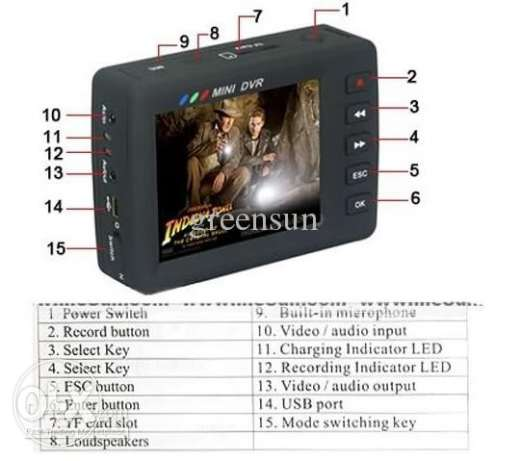 TFT LCD monitor Mini DVR with Button camera Motion Detection