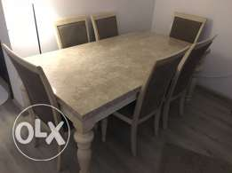6 Chairs Dining Table Marble Top - Home Center