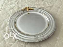 silver plate with gold painting