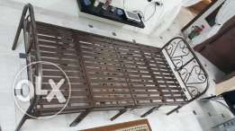 Single Foldable Iron Bed with Mattress