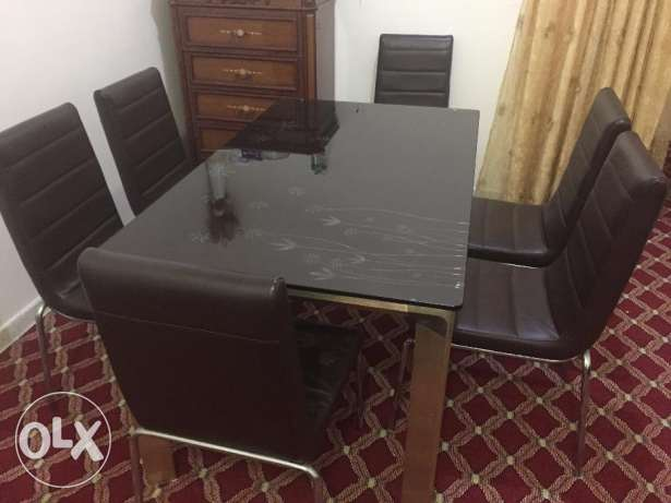 Glass Top Dining Table Set - 6 seating
