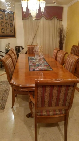 American Wood Dinning set - table, 10 chairs and cabinet جدة -  3