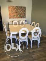 Dining Room: Table + 8 Chairs + Side Board Cabinet