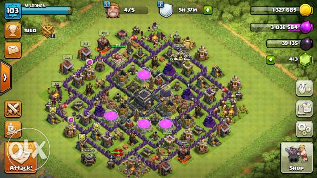 clash of clans ke Townhall 9 ki id ha 900 riyal may aur 5 builder open