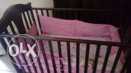 Wooden Baby Cot with Mattress
