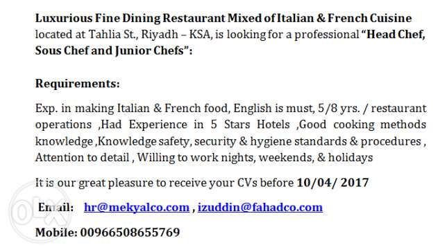 Head Chef, Sous Chef and Junior Chefs - Required