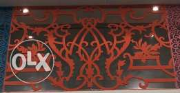 Metal art work, laser cut designed doors, hangers,windows,railing etc