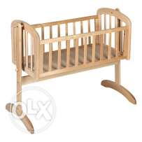 wooden crib with swing and mattress