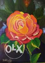 Red rose painting oil on canvas30 × 40cm