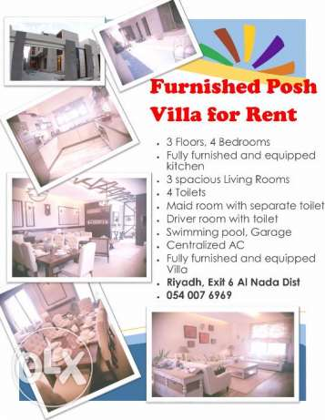 Super deluxe furnished villa for rent in Riyadh