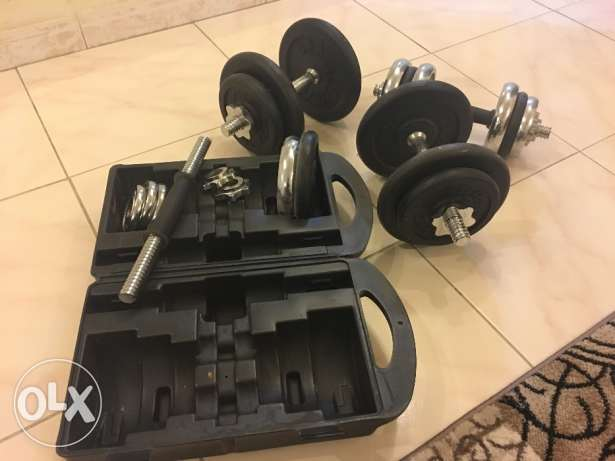 adjustable Dumbbells and Bench bar