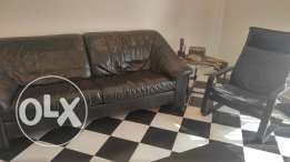 Black living room set. Leather and wood