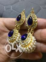 Royal Blue, Gold and White Earrings