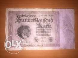 German 100,000 Mark 1923 ReichsBank Note Germany